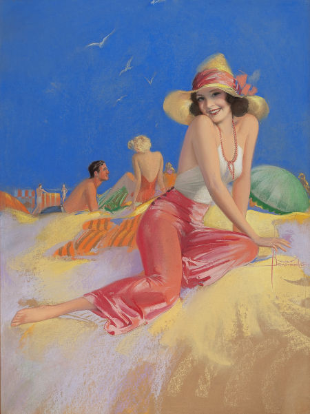 Rolf Armstrong_Bathing Beauty in Sun Hat_late 1930s-40s
