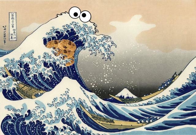 sea is for cookie-hokusai wave mashup-redditor put_it_all_on_red