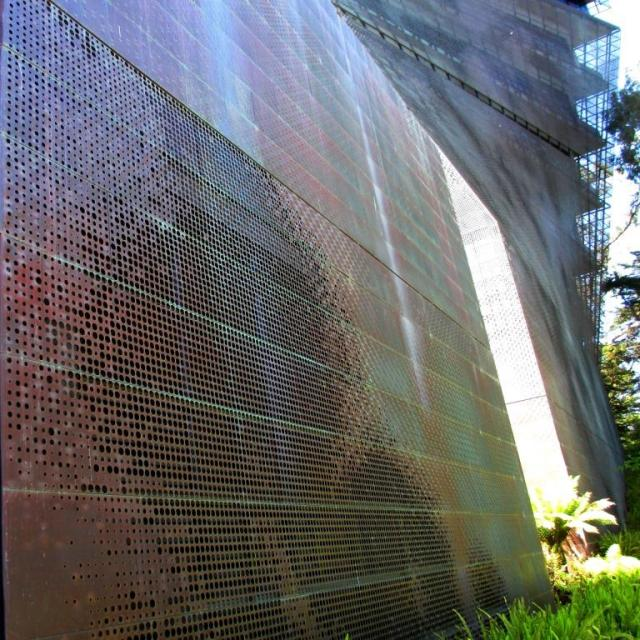 The De Young Museum's perforated bronze exterior.