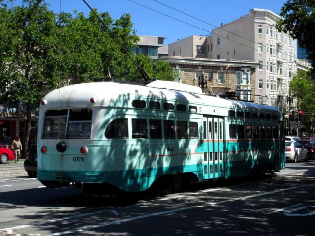 Old-timey streetcar.