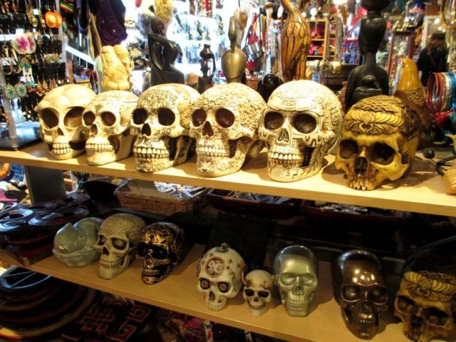 Resin skulls. One had the alphabet, yes/no, good/bad, etc. so it could be used as a ouija board.