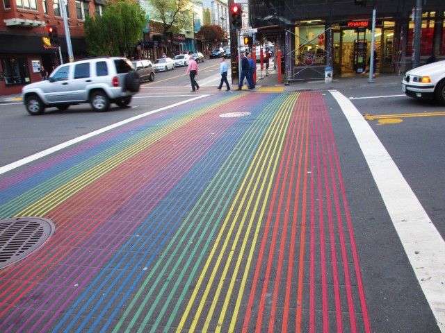 A rainbow crosswalk.