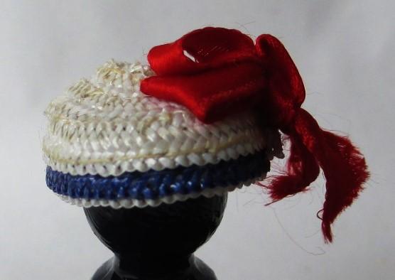 blue white straw sailor cap