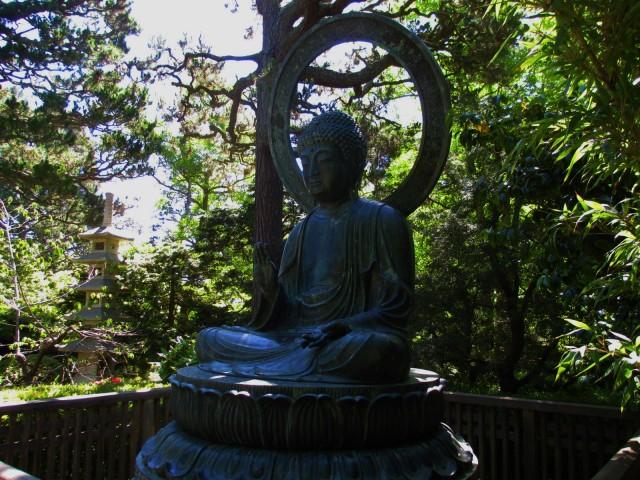 A large bronze Buddha.