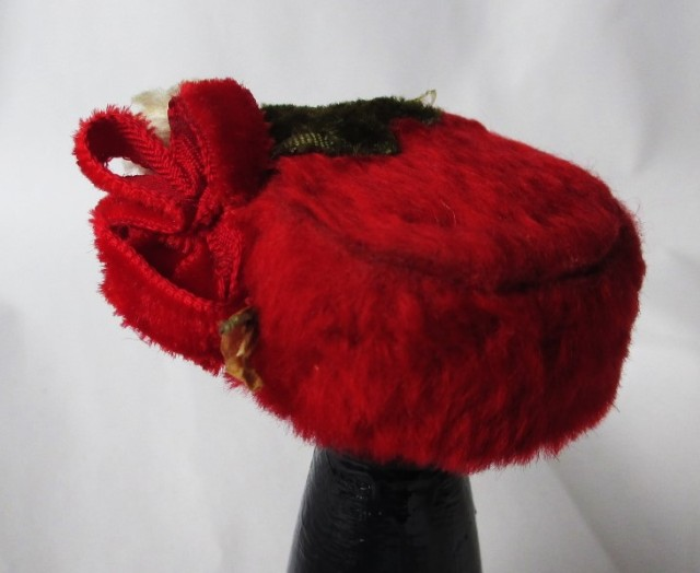 red fur pillbox w-flowers