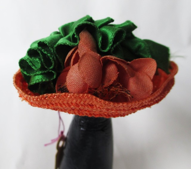 salmon straw bonnet green ribbon