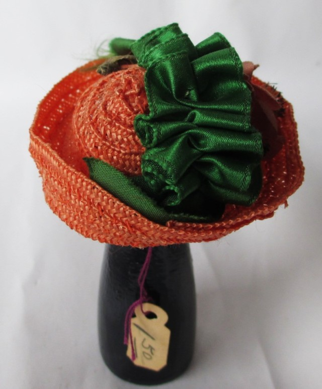 salmon straw bonnet green ribbon1
