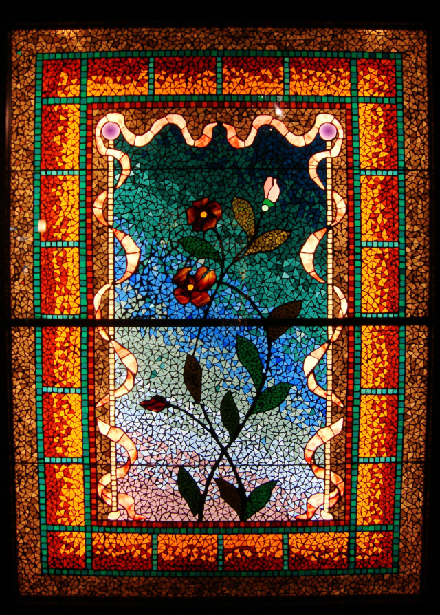 stained glass at navy pier