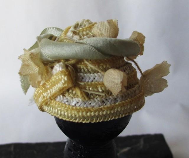 yellow white straw grey ribbon